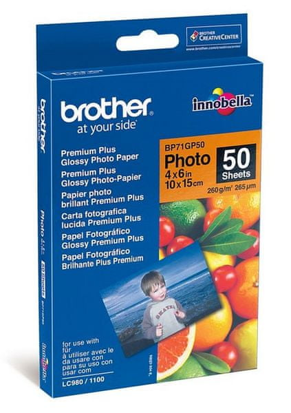 Brother fotopapír premium Glossy BP71GP50 10 x 15 cm, 50ks