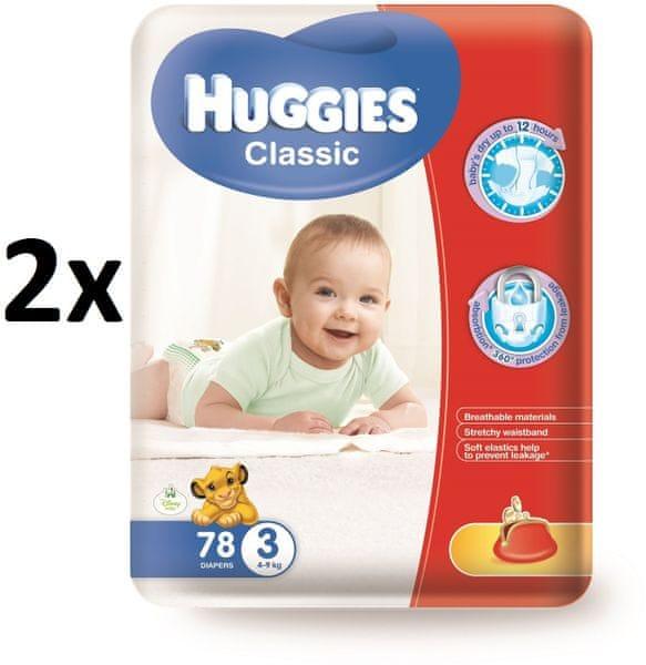 Huggies Classic 3 Mega 4-9 kg, 156 ks