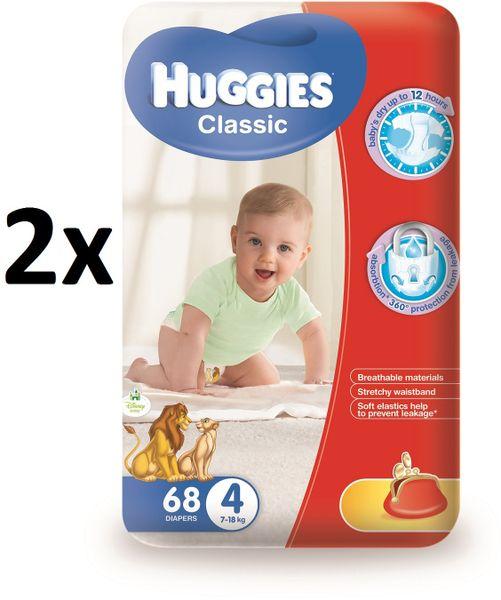 Huggies Classic 4 Mega 7-18 kg, 136 ks
