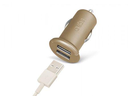 SBS avtopolnilec mini USB x2 izhoda, zlat