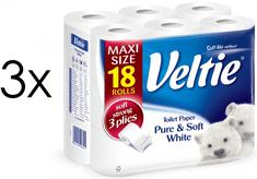 Veltie Pure & Soft White toaletni papir, 3-slojni, 2 x 18 rolic