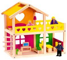 BINO Drewniany domek dla lalek z akcesoriami