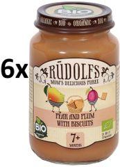 RUDOLFS Dětský dezert hruška+švestka+sušenky - 6x190 g