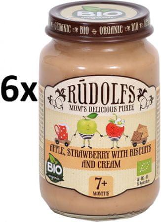 RUDOLFS Dětský dezert jablko+jahody+sušenky+smetana - 6x190 g