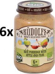 RUDOLFS Dětská kaše rýžová + jablko + hruška - 6x190 g