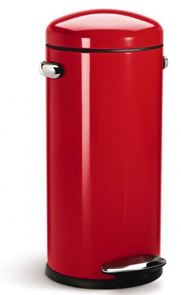 Simplehuman Pedálový odpadkový koš Retro 30 l červená