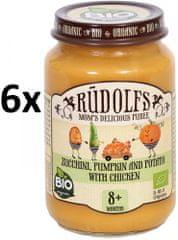 RUDOLFS Dětské masové pyré cuketa + dýně + brambor + kuřecí maso - 6x190 g