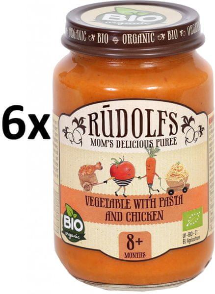 RUDOLFS Dětské masové pyré zelenina + těstoviny + kuřecí maso - 6x190 g