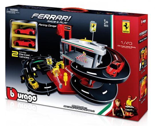 BBurago 1:43 Ferrari garáž + 2 autá v krabičke