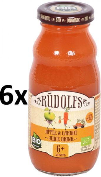 RUDOLFS Dětský juice jablko+mrkev - 6x190 g