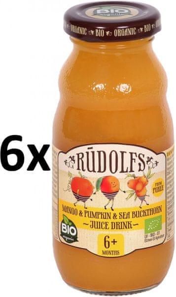 RUDOLFS Dětský juice mango+dýně+rakytník - 6x190 g