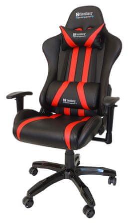 Sandberg stol Gaming Commander, črn/rdeč