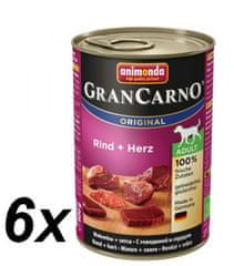 Animonda mokra hrana za pse GranCarno Plus, govedina + srce, 6 x 400 g