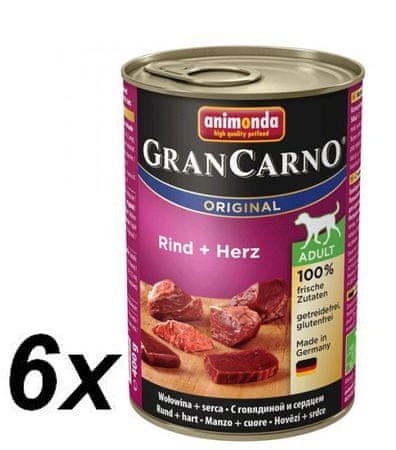 Animonda mokra karma dla psa GranCarno plus Adult - wołowina + serca 6x400g
