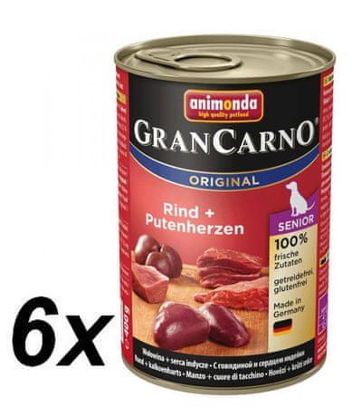 Animonda GranCarno Senior Kutyakonzerv, csirke és pulykaszív, 6 x 400 g