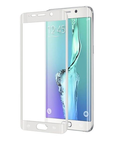 Celly zakřivené tvrzené sklo, Galaxy S6 Edge, bílé