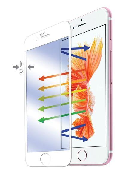 Celly Full cover tvrzené sklo, iPhone 6/6S, Anti Blue-ray, bílé