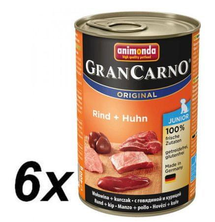 Animonda GranCarno mokra hrana za mlade pse, piščanec in govedina, 6 x 400g