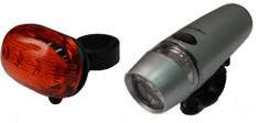 Olpran zestaw lampek rowerowych black/silver