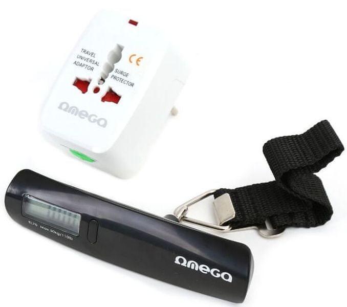 Omega Cestovní adaptér OMEGA 220-250V s digitální cestovní váhou, US+EU+UK zástrčka