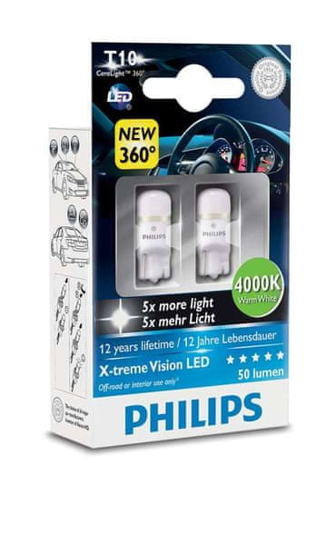 Philips X-tremeVision LED T10, hřejivá bílá, 4000 K, 2 ks