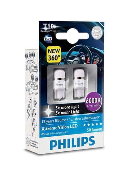 Philips X-tremeVision LED T10, xenonová bílá, 6000 K, 2 ks