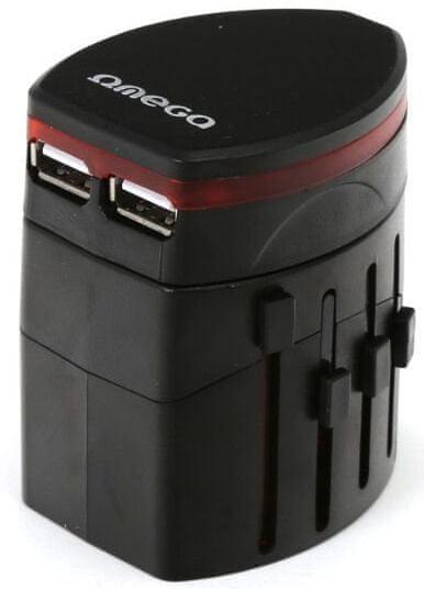 Omega Cestovní adaptér 220-250V se dvěma USB porty, US+EU+UK zástrčka, černá