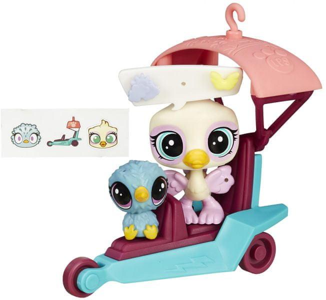 Littlest Pet Shop Zvířátko s kamarádem a vozidlem Ostrich and Kiwi Glider