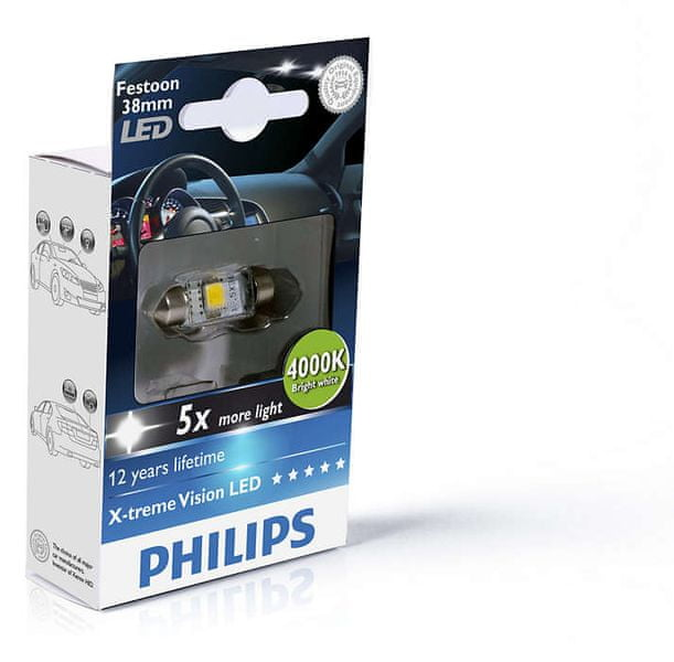 Philips X-tremeVision LED C5W 38 mm, jasná bílá, 4000 K, 1 ks