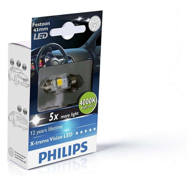 Philips X-tremeVision LED C5W 43 mm, jasná bílá, 4000 K, 1 ks