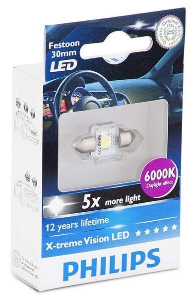 Philips X-tremeVision LED C5W 30 mm, denní světlo, 6000 K, 1 ks