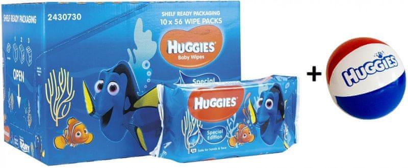 Huggies Vlhčené Ubrousky Disney Natural Care 10x56ks, Dory + DÁREK nafukovací míč