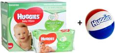 Huggies Natural Care törlőkendő, 10x56 db + Ajándék labda