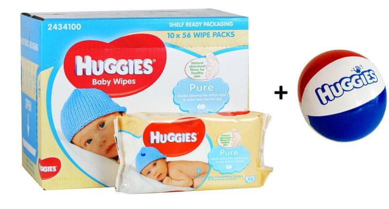 Huggies Vlhčené ubrousky Pure 10x56 ks + DÁREK nafukovací míč