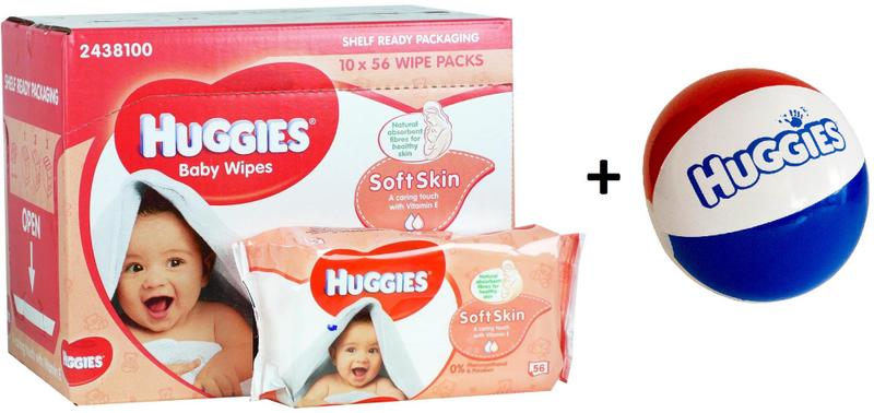 Huggies Vlhčené ubrousky Soft Skin 10 x 56 ks + DÁREK nafukovací míč