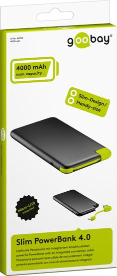 Goobay prenosna baterija 4000 mAh PowerBank Slim 4.0