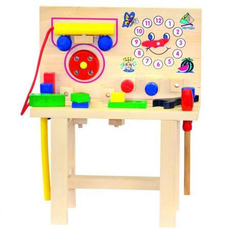 BINO Stolik drewniany z telefonem i narzędziami