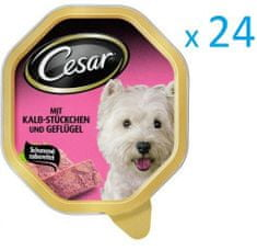 Cesar mokra karma dla psa z cielęciną i drobiem 24 tacki x 150g