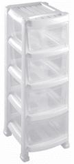 Heidrun Regál se 4 zásuvkami bílý - rozbaleno