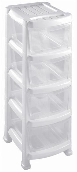 Heidrun Regál se 4 zásuvkami bílý