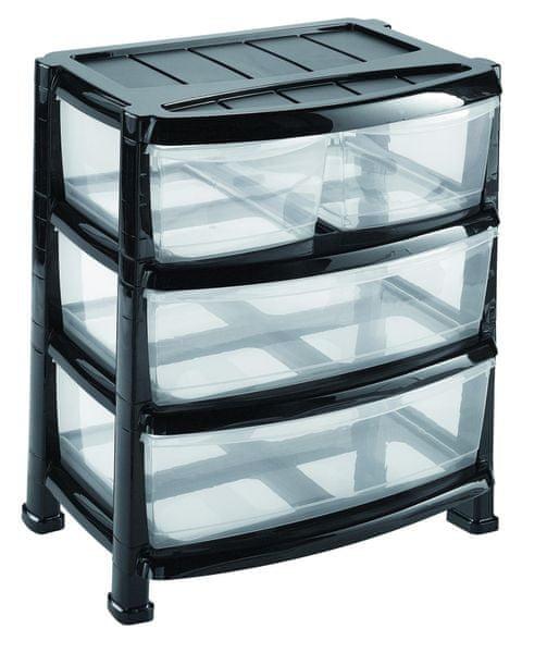 Heidrun Regál se 3 zásuvkami široký černá