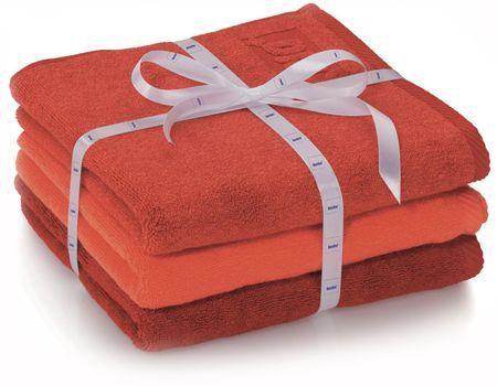 Kela Zestaw 3 ręczników LADESSA czerwonych Kela