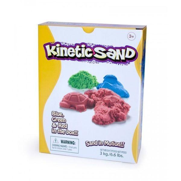 Montessori pomůcky Kinetický písek 3 kg - červený, modrý, zelený