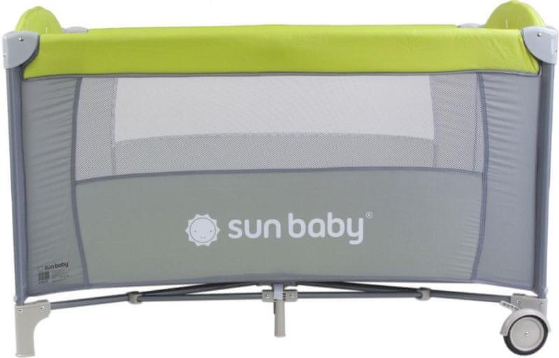 Sun Baby Cestovní postýlka Sweet dreams bez vložného lůžka světle hnědá pastel - zelená