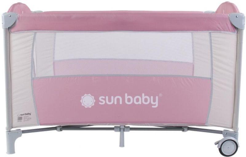 Sun Baby Cestovní postýlka Sweet dreams bez vložného lůžka světle hnědá pastel - růžová