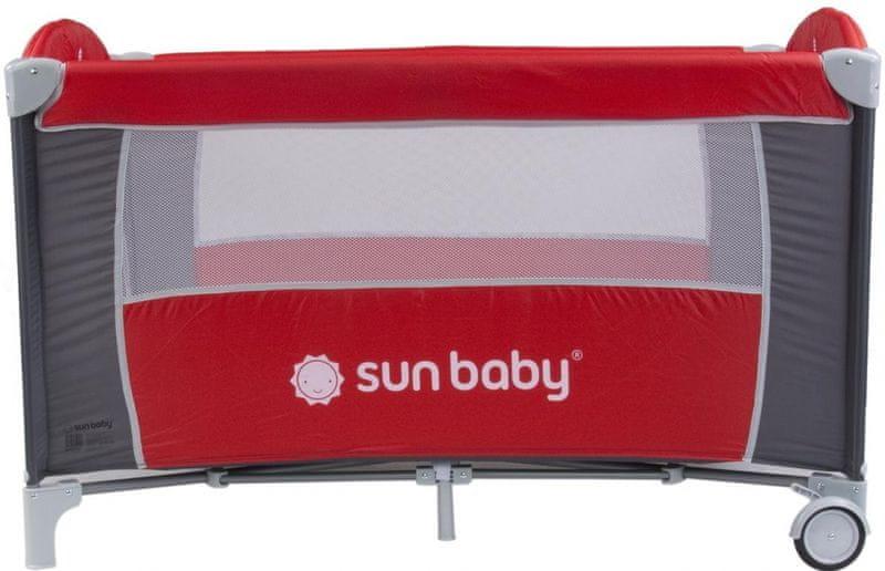 Sun Baby Cestovní postýlka Sweet dreams bez vložného lůžka světle hnědá pastel - červená