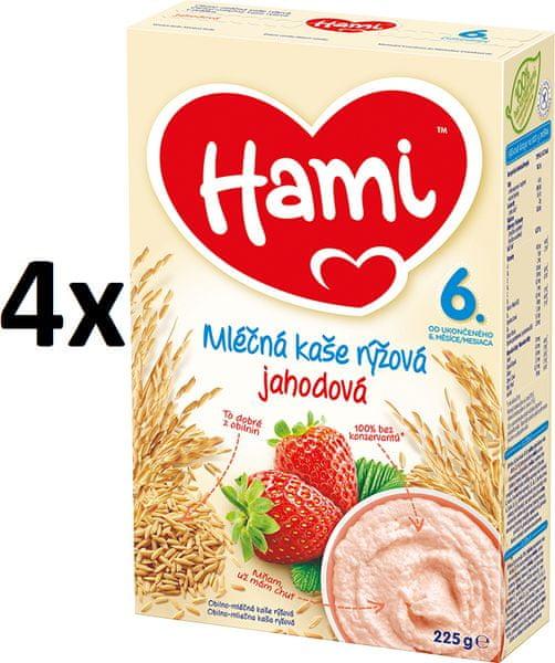 Hami Mléčná kaše s jahodami - 4x225g