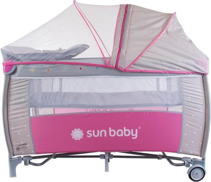 Sun Baby Cestovní postýlka Sweety s vložným lůžkem - růžová