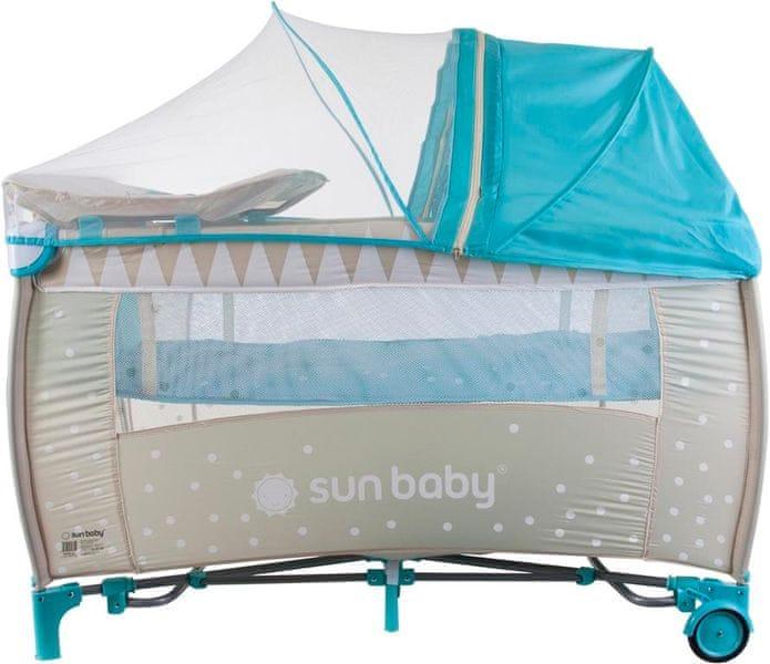 Sun Baby Cestovní postýlka Sweety s vložným lůžkem - světle modrá