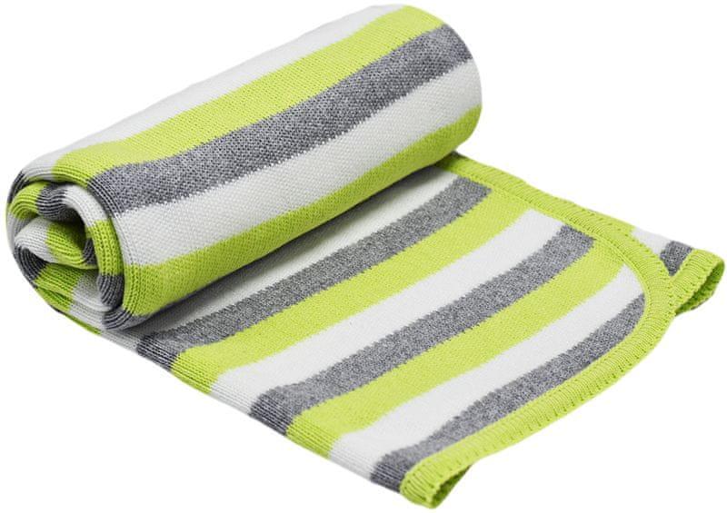 EKO Pletená deka pruh - limetka